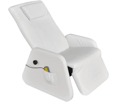 vidaXL Masažinis krėslas, baltos spalvos, dirbtinė oda
