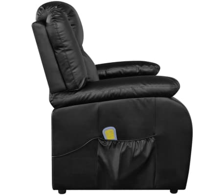 vidaXL Sillón de masaje eléctrico ajustable cuero artificial negro[4/10]