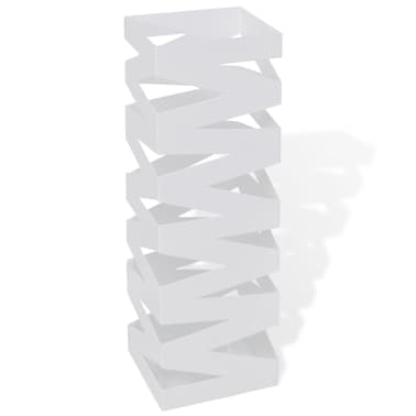 vidaXL Portaombrelli Bastoni Passeggio Quadrato Acciaio 48,5 cm Bianco[1/5]