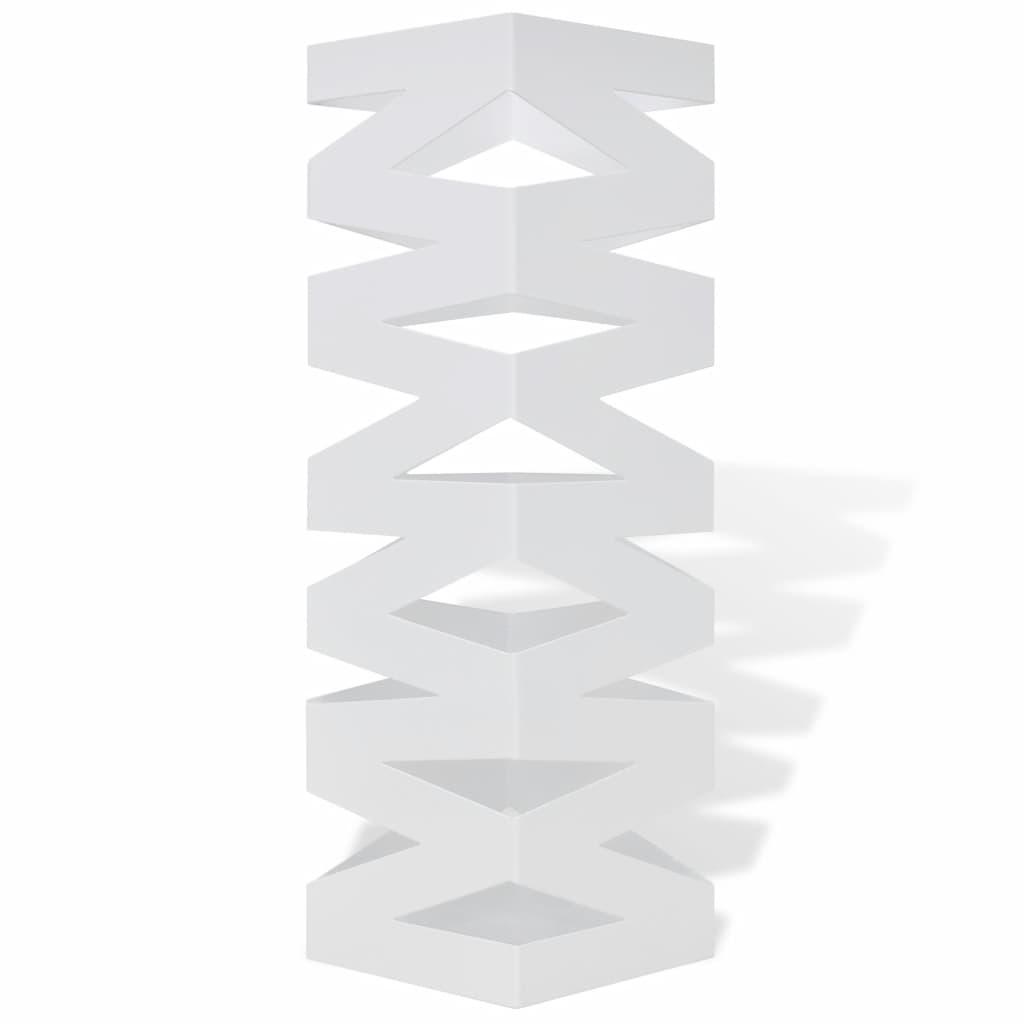 VidaXL Paraplu en wandelstokhouder strepen wit vierkant staal 48,5 cm