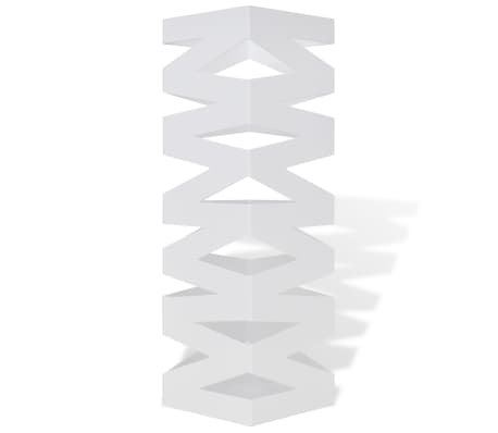 vidaXL Portaombrelli Bastoni Passeggio Quadrato Acciaio 48,5 cm Bianco[2/5]