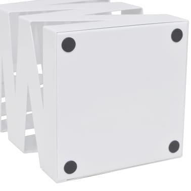 vidaXL Portaombrelli Bastoni Passeggio Quadrato Acciaio 48,5 cm Bianco[4/5]