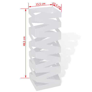 vidaXL Portaombrelli Bastoni Passeggio Quadrato Acciaio 48,5 cm Bianco[5/5]
