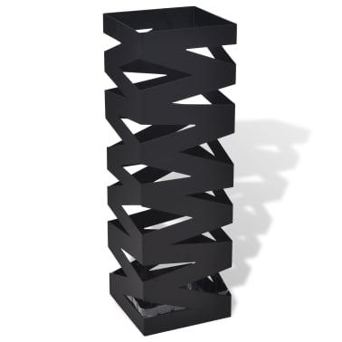 vidaXL Portaombrelli Bastoni Passeggio Quadrato Acciaio 48,5 cm Nero[1/5]