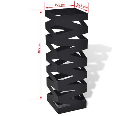 vidaXL Portaombrelli Bastoni Passeggio Quadrato Acciaio 48,5 cm Nero[5/5]