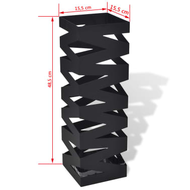 Black Square Umbrella Stand Storage Holder Walking Stick Steel 48.5 cm[5/5]