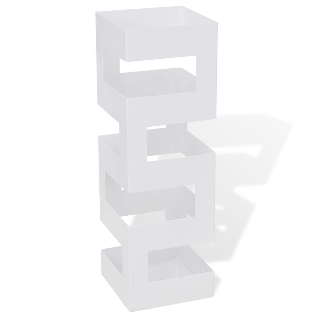 vidaXL Ομπρελοθήκη / Μπαστουνοθήκη Τετράγωνη Λευκή 48,5 εκ. Ατσάλινη