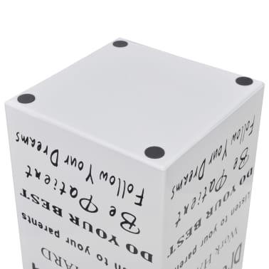 vidaXL Paraplu- en wandelstokhouder wit vierkant + tekst staal 48,5 cm[4/5]