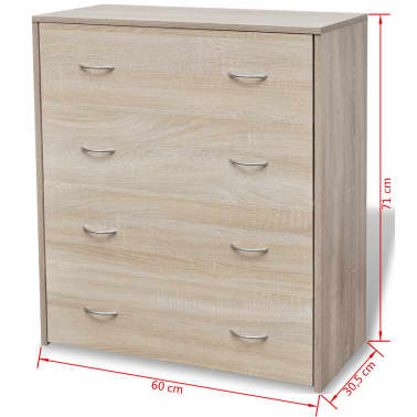 vidaXL Sideboard with 4 Drawers 60x30.5x71 cm Oak Colour[6/6]