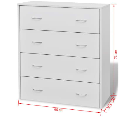 vidaXL Sideboard with 4 Drawers 60x30.5x71 cm White[6/6]