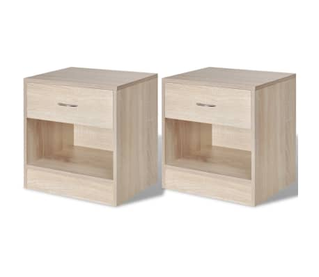 vidaXL Nightstand 2 pcs with Drawer Oak Colour[1/7]
