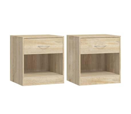 vidaXL Table de chevet 2 pcs avec tiroir Couleur de chêne[1/7]