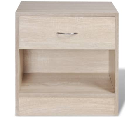 vidaXL Nightstand 2 pcs with Drawer Oak Colour[3/7]