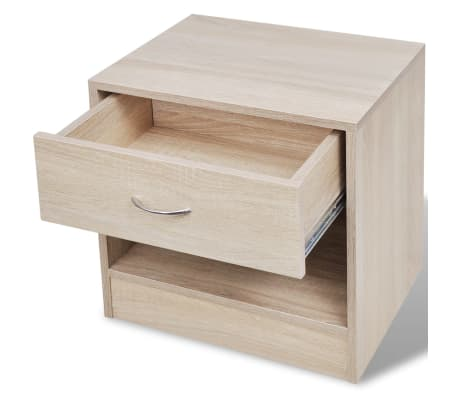 vidaXL Nightstand 2 pcs with Drawer Oak Colour[5/7]