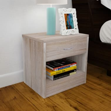 vidaXL Nightstand 2 pcs with Drawer Oak Colour[2/7]