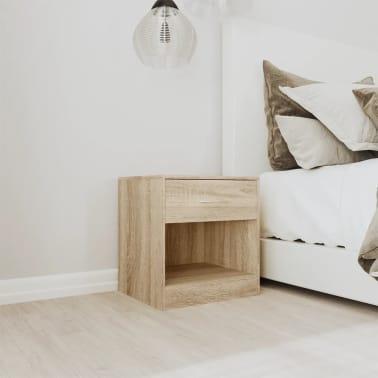 vidaXL Table de chevet 2 pcs avec tiroir Couleur de chêne[2/7]