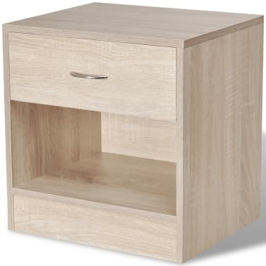 vidaXL Nightstand 2 pcs with Drawer Oak Colour[4/7]