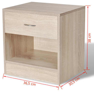 vidaXL Nightstand 2 pcs with Drawer Oak Colour[7/7]