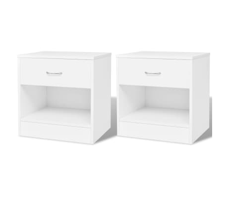 vidaXL Nightstand 2 pcs with Drawer White[1/7]