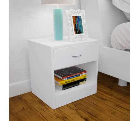 vidaXL Nightstand 2 pcs with Drawer White[2/7]