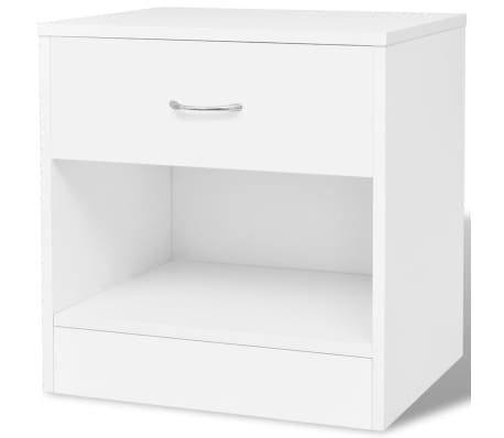 vidaXL Noptieră cu sertar, 2 buc, alb[4/7]