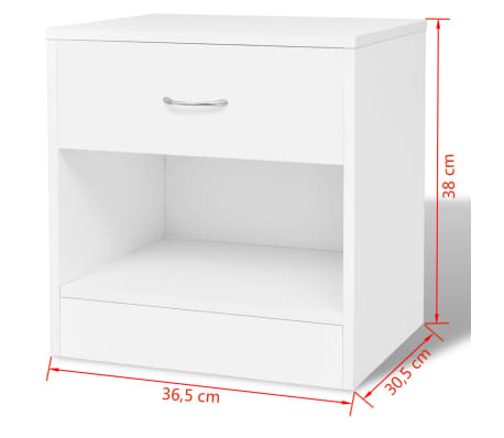 vidaXL Nightstand 2 pcs with Drawer White[7/7]