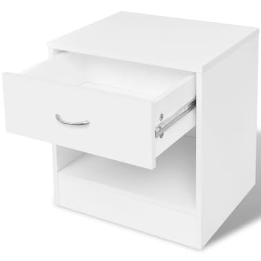 vidaXL Noptieră cu sertar, 2 buc, alb[5/7]