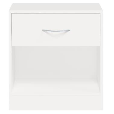 vidaXL Noptieră cu sertar, 2 buc, alb[7/7]