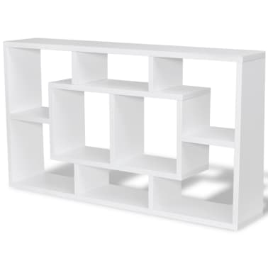 Floating Wall Display Shelf 8 Compartments White[2/6]