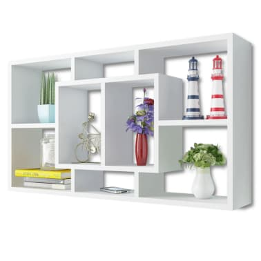 Floating Wall Display Shelf 8 Compartments White[3/6]