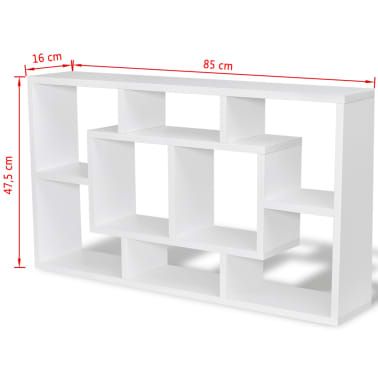 Floating Wall Display Shelf 8 Compartments White[6/6]