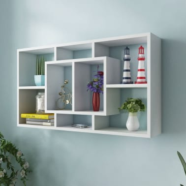 Floating Wall Display Shelf 8 Compartments White[1/6]