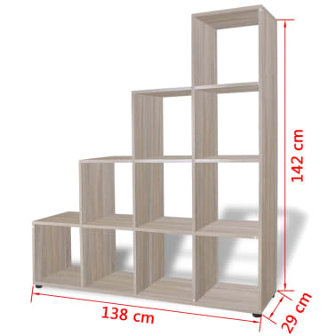 "vidaXL Staircase Bookcase/Display Shelf 55.9"" Oak[7/7]"