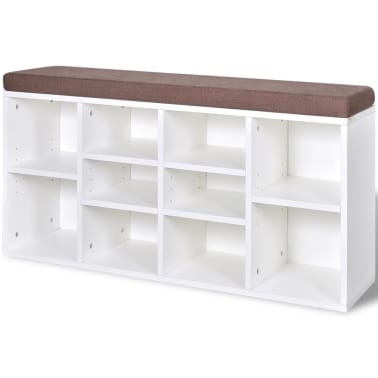Shoe Storage Bench 10 Compartments White[2/5]