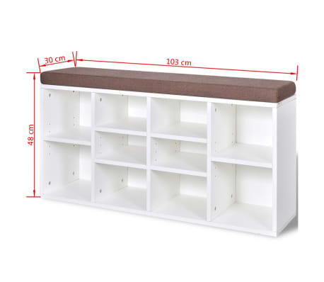 Shoe Storage Bench 10 Compartments White[5/5]