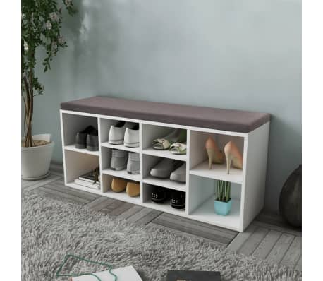 Shoe Storage Bench 10 Compartments White[1/5]