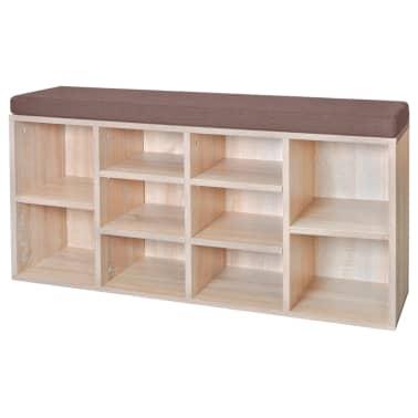 Shoe Storage Bench 10 Compartments Oak Colour[2/5]