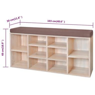 Shoe Storage Bench 10 Compartments Oak Colour[5/5]