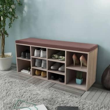 Shoe Storage Bench 10 Compartments Oak Colour[1/5]