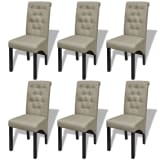 6 Scroll Back Linen Coated Wood Dining Chairs Beige