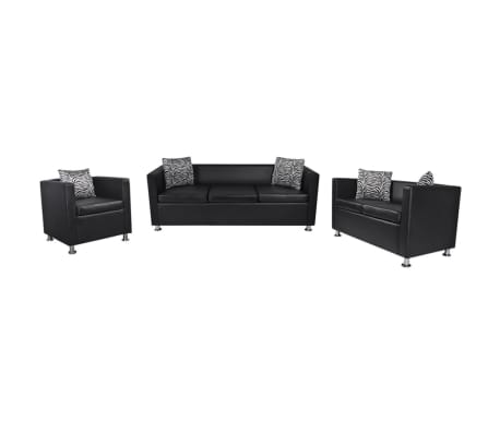 vidaXL Sofa Set Artificial Leather 3-Seater 2-Seater Armchair Black