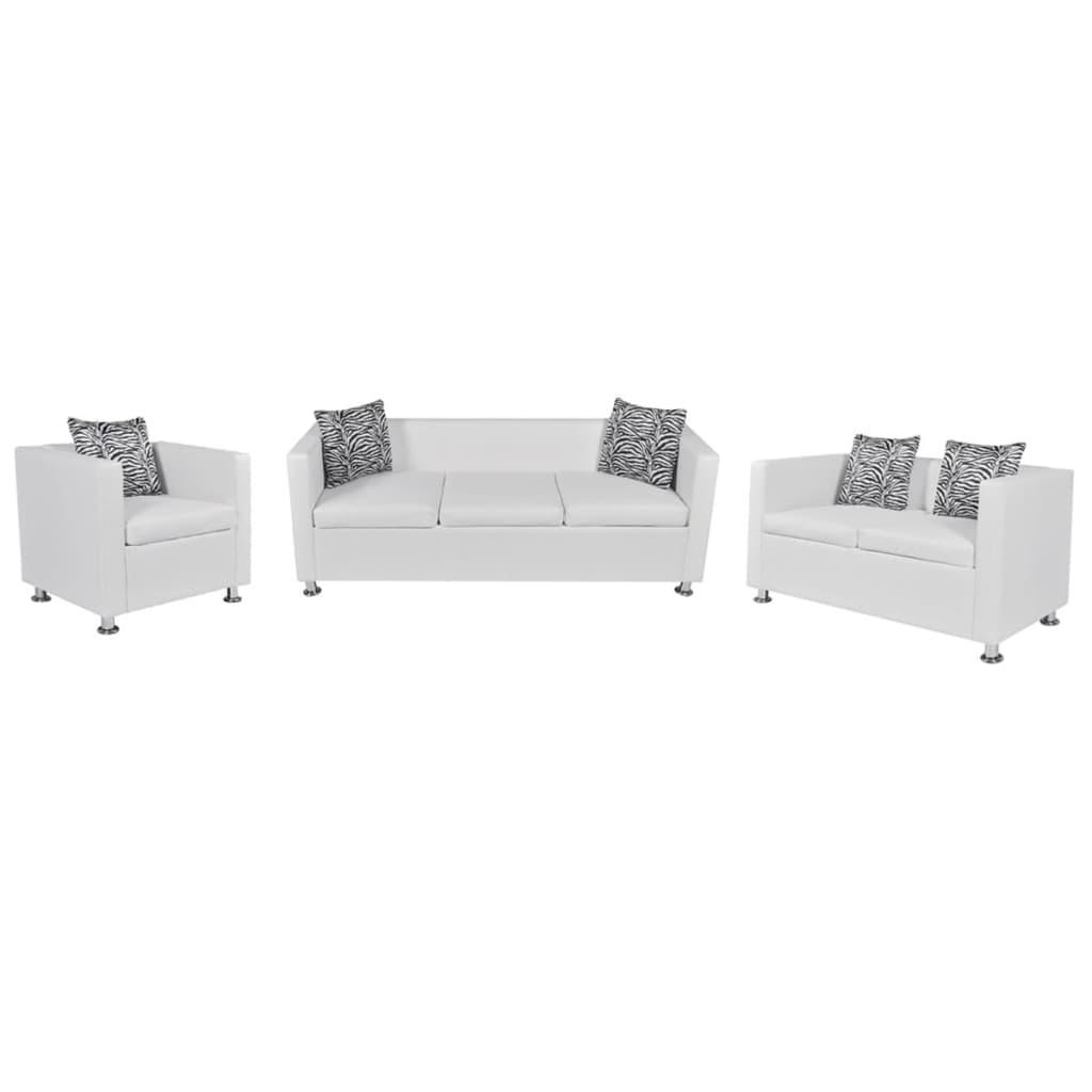 vidaXL Set canapele 3 și 2 locuri și fotoliu, alb, piele artificială imagine vidaxl.ro