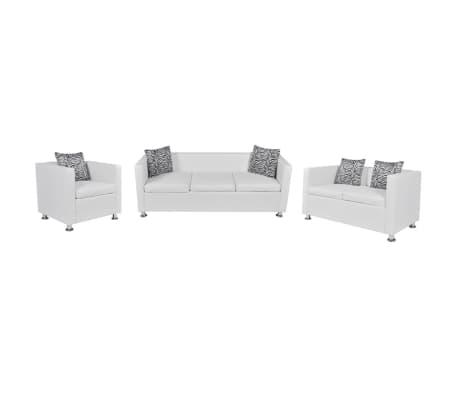 vidaXL Komplet kavčev um. usnje trosed, dvosed in naslanjač bele barve