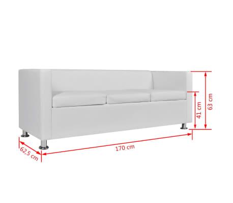 Vidaxl Sofa Set Artificial Leather 3 Seater 2 Seater Armchair White