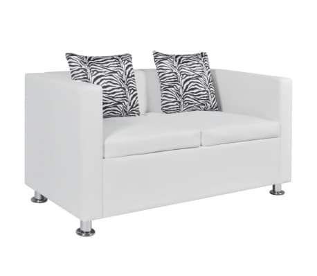 vidaxl sofa set kunstleder 3 sitzer 2 sitzer sessel wei g nstig kaufen. Black Bedroom Furniture Sets. Home Design Ideas