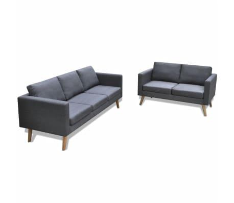 vidaXL Sofa Set 2-Seater and 3-Seater Fabric Dark Grey
