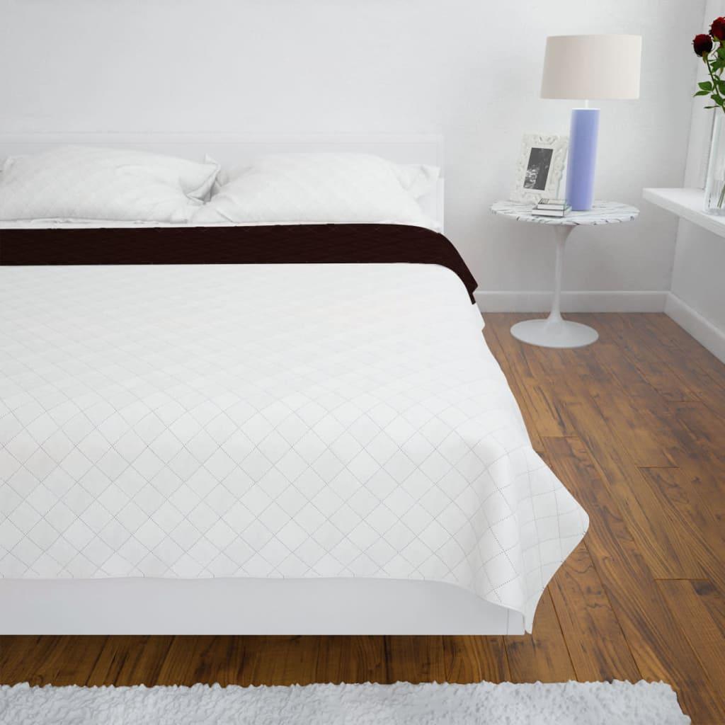 Oboustranný prošívaný přehoz na postel béžovo-hnědý 170 x 210 cm