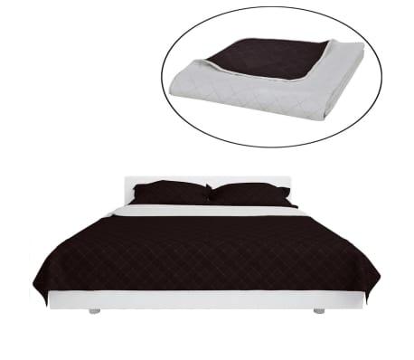 Dwustronna pikowana narzuta na łóżko Beż/Brąz 220 x 240 cm[2/4]