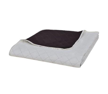 acheter couvre lits double c t s beige marron 230 x 260 cm pas cher. Black Bedroom Furniture Sets. Home Design Ideas