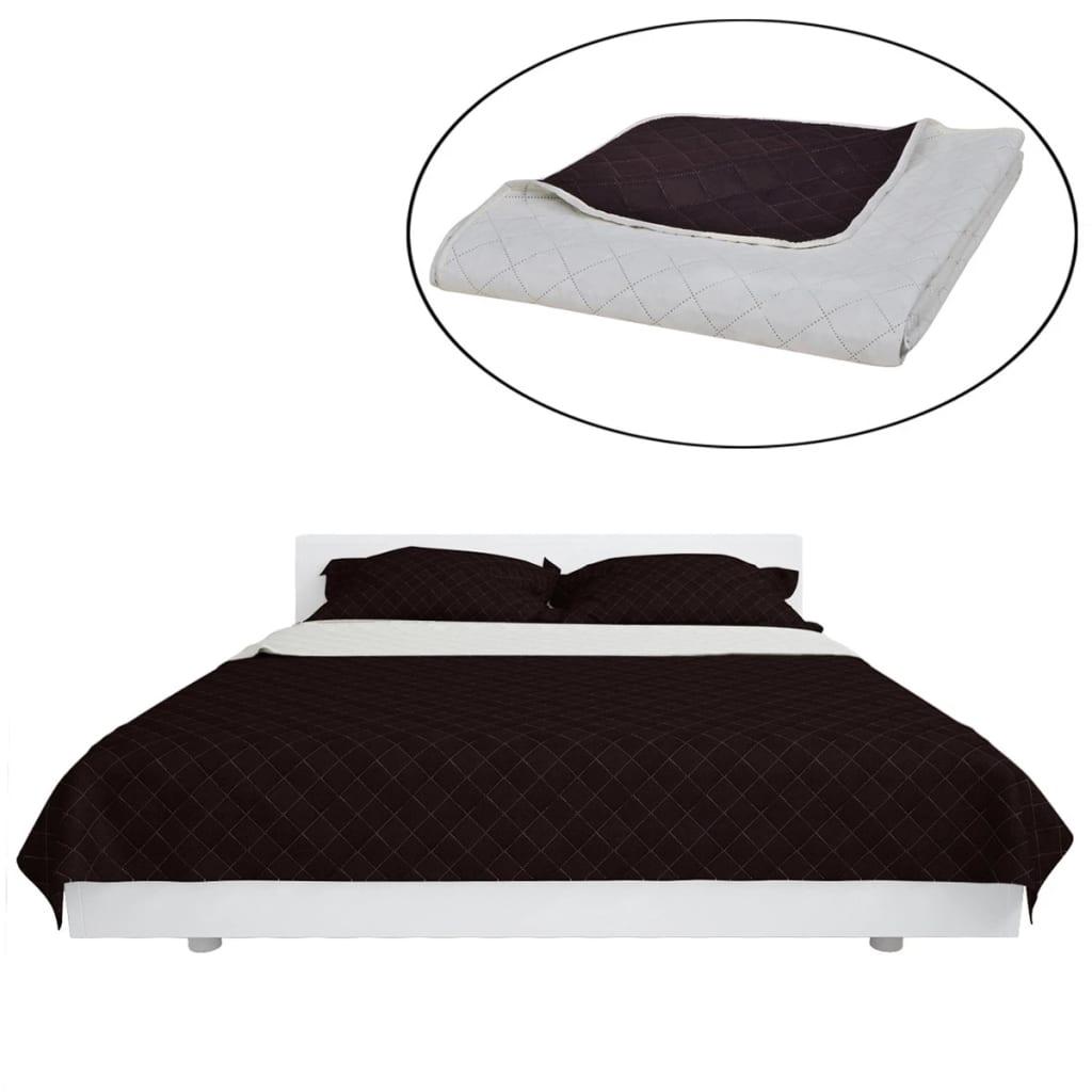 Oboustranný prošívaný přehoz na postel béžovo-hnědý 230 x 260 cm